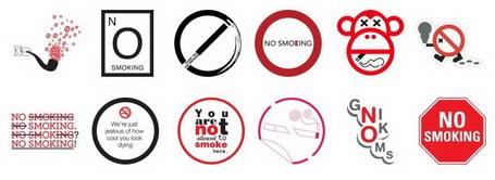 Alguns símbolos antitabagistas criados por internautas