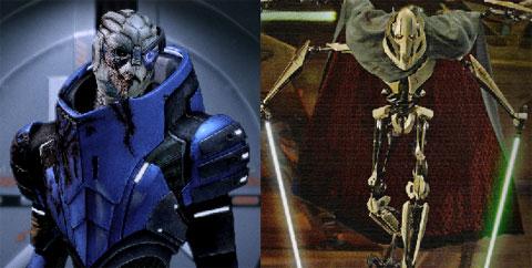 Garrus Vakarian(Mass Effect 2) e General Grievous(Star Wars)