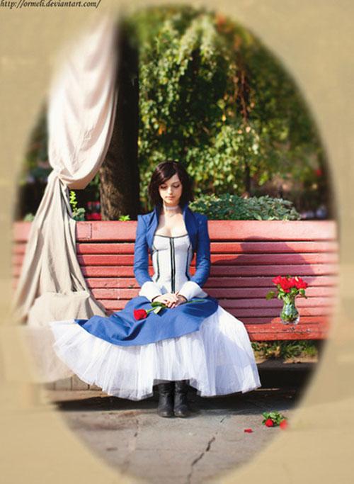 Belíssima cosplay de Elizabeth do game BioShock Infinite