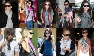 Várias sugestões de como amarrar lenços e echarpes